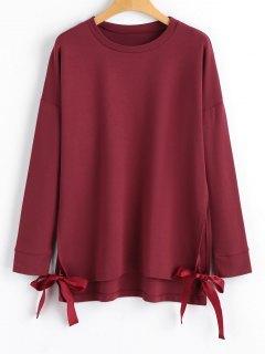 Loose Bow Tied Slit Sweatshirt - Wine Red L
