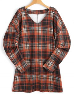 Cinched Sleeve Checked Mini Dress - Checked M