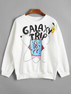 Graphic Galaxy Trip Fleeced Sweatshirt - White