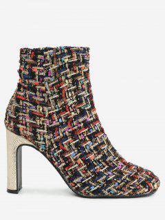 High Heel Plaid Color Block Ankle Boots - Black Red 39