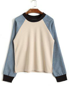 Two Tone Corduroy Raglan Sleeve Top - Apricot