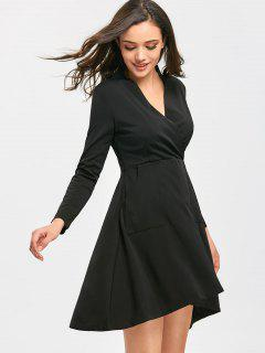 Plunging Neck Long Sleeve High Low Dress - Black M