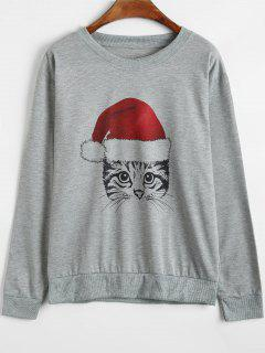 Christmas Cartoon Cat Sweatshirt - Gray S