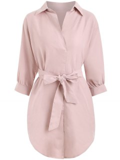 Belted Plain High Low Dress - Light Pink M