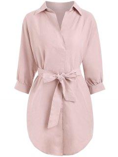 Vestido Alto Ceñido Con Cinturón - Rosa Claro S