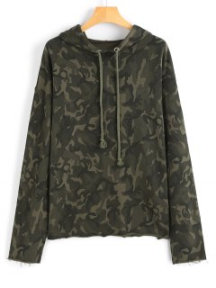 Frayed Drawstring Camouflage Hoodie - Army Green S