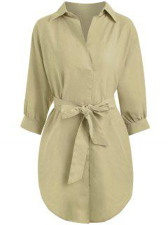 Belted Plain High Low Dress - Light Khaki M