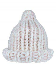 Soft Thick Knitted Coarse Lines Crochet Beanie - White