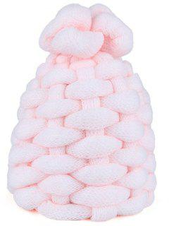 Outdoor Thicken Knitted Coarse Lines Crochet Beanie - Pink