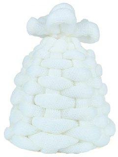 Outdoor Thicken Knitted Coarse Lines Crochet Beanie - White