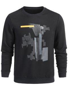 Geometrisches Muster Sweatshirt - Schwarz L