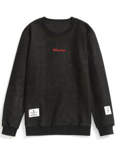 Letter Embroidered Suede Sweatshirt - Black L