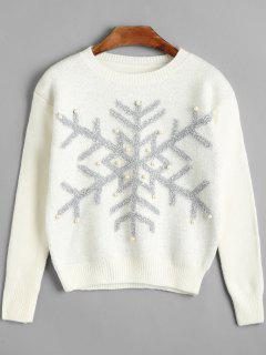 Beaded Christmas Snowflake Sweater - White