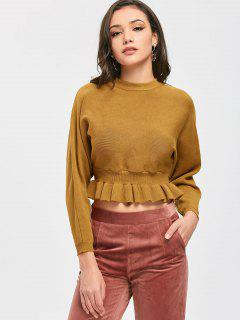 Ruffle Hem Crop Knitted Top - Light Brown