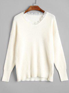 Slim Fit Scalloped V Neck Sweater - Off-white