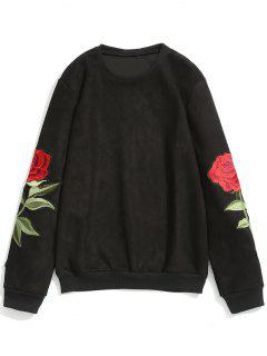 Rose Applique Suede Sweatshirt - Black L