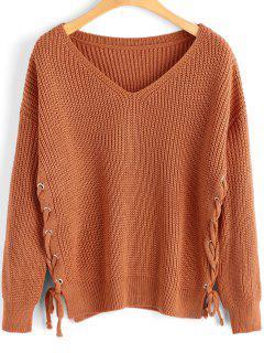 Pullover Mit Seitlichem Schnürsenkel Und V-Ausschnitt  - Orange