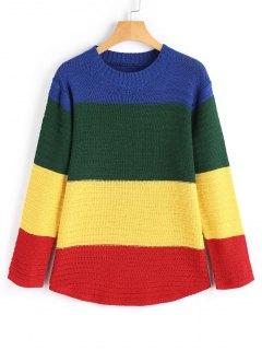 Pullover Mit Langarm Und Farbblock  - Mehrfarbig