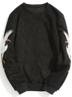 Animal Crane Patch Suede Sweatshirt - Black 3xl