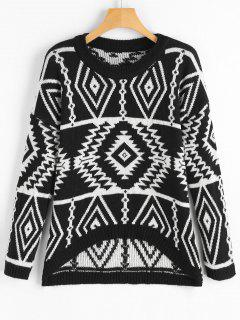 Pullover Geometric High Low Sweater - Black