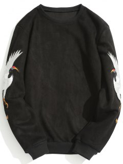 Animal Crane Patch Suede Sweatshirt - Black L