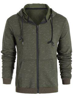 Drawstring Zip Up Hoodie - Light Green L