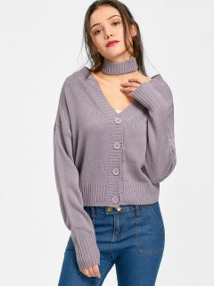 Button Up Plunge Cardigan With Choker Belt - Light Purple