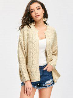 Cable Knit Open Cardigan - Beige