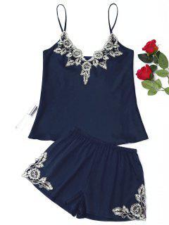 Flower Applique Satin Pajama Set - Purplish Blue M