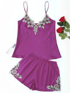 Conjunto De Pijama De Satén Con Apliques De Flores - Púrpura M