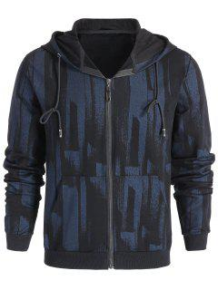 Patterned Zip Up Hoodie - Black L