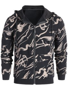 Zip Up Abstract Print Hoodie - Black L