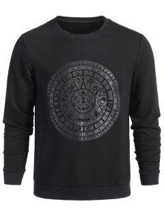 Crew Neck Retro Print Sweatshirt - Black L