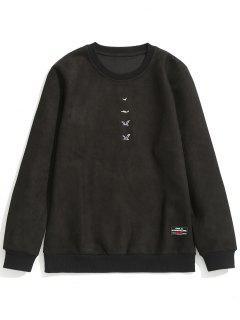 Embroidered Suede Sweatshirt - Black L