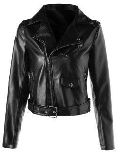 Faux Leather Crop Biker Jacket With Belt - Black M