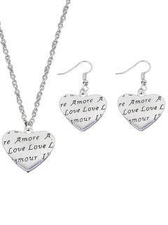 Engraved Love Heart Jewelry Set - Love Heart