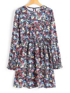 Smok-Taille Winzige Floral Langarm Kleid - Blumen L