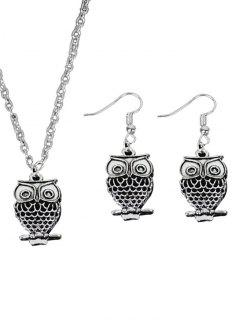 Vintage Alloy Owl Jewelry Set - Silver