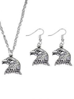 Cool Eagle Necklace With Earring Set - Silver