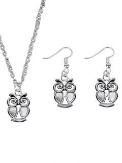 Vintage Owl Necklace With Earring Set - Silver
