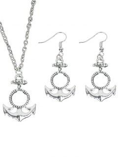 Circle Anchor Necklace With Earring Set - Silver
