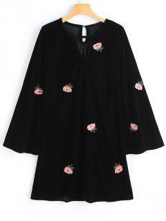 Vestido De Manga Larga Bordado Floral Terciopelo - Negro L