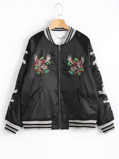 Embroidered Zipper Up Souvenir Jacket - Black S