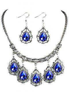 Water Drop Shape Embellished Artificial Gem Jewlery Set - Blue