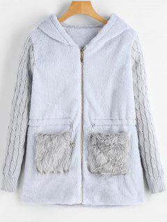Faux Fur Panel Hooded Coat - Blue Gray M