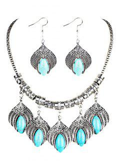 Boho Style Artificial Turquoise Embellished Jewlery Set - Silver