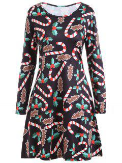 Christmas Candy Sticks Print Long Sleeve Dress - Black M