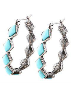 Faux Turquoise Oval Vintage Hoop Earrings - Silver
