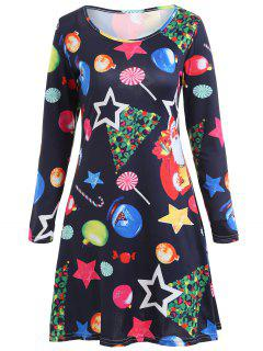 Christmas Patterned Long Sleeve Dress - Black Xl