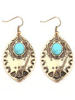 Faux Turquoise Bohemian Leaf Hook Earrings - Golden
